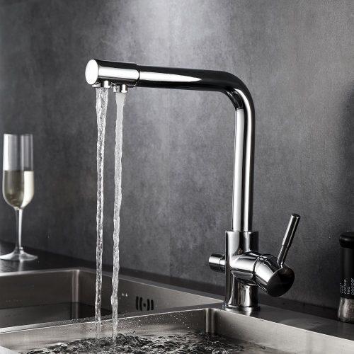 Hommix Teresa Chrome 3 Way Tap (Triflow Tap) Modern Elegant Kitchen Faucet