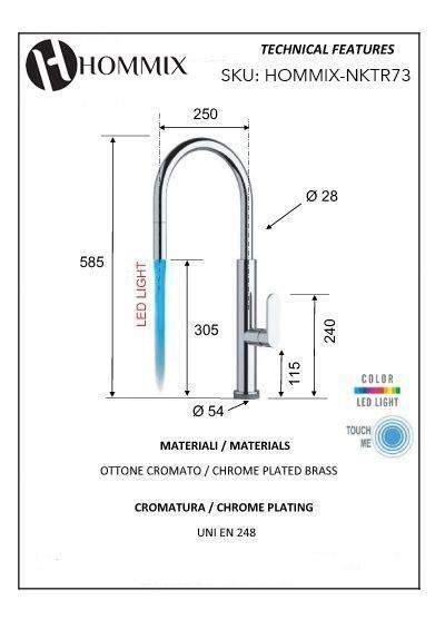 Hommix Aversa Kitchen Tap Touch Activated 2-Way Kitchen Mixer Faucet