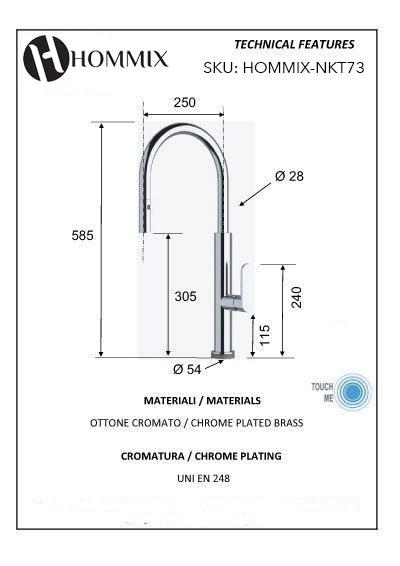 Hommix Deborati Kitchen Tap Touch Activated Pull-Out-Hose 2-Way Mixer Faucet