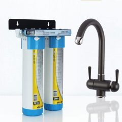 BMB Zada Pro Under Sink Inline Water Filter System with Hommix Pardenia Black 3 Way Triflow Tap