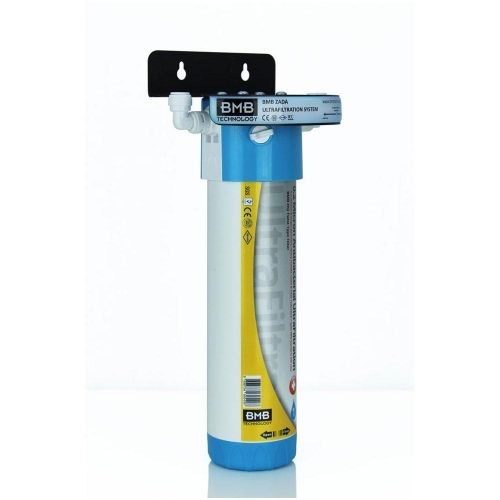 BMB Zada Under Sink Inline Water Filter System with Hommix Parma Modern White Filter Tap
