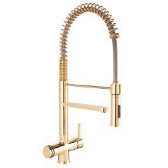 Hommix Luana Tall Gold 3 Way Tap (Triflow Tap) Pull Out Luxury Kitchen Filter Tap