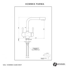 Hommix Parma White 3-Way Tap (Triflow Tap) High Quality Modern Filter Tap