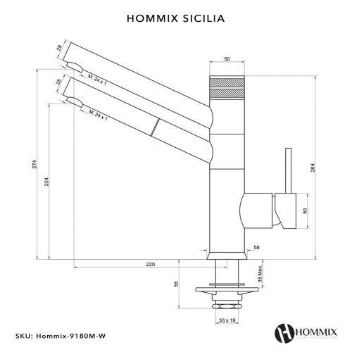 Hommix Sicilia Chrome 3-Way Tap (Triflow Tap) Pull Out Elegant Kitchen Filter Tap / Faucet