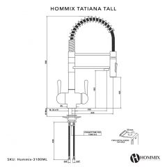 Hommix Tatiana Tall Copper 3-Way Tap (Tri-Flow) Pull-Out-Hose Spray Kitchen Mixer