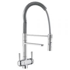 Hommix Tatiana Tall Chrome 3-Way Tap (Tri-Flow) Pull-Out-Hose Spray Faucet