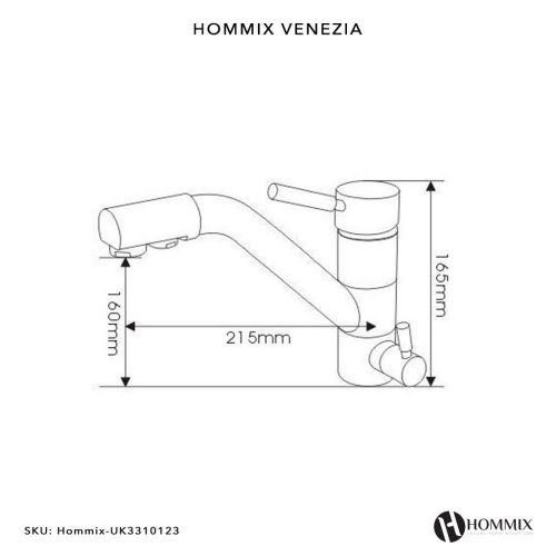 Hommix Venezia Chrome 3-Way Tap (Triflow Tap) Classic 3 Way Tap